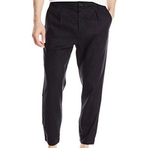VINCE. Urban Linen Blend Blue Jogger Cropped Chino